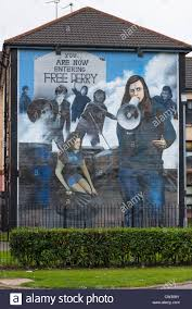 the free derry mural on the wall of house in bogside northern stock photo the free derry mural on the wall of house in bogside northern ireland