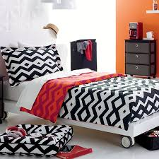 Orange And White Comforter Bedroom Reversible Tribal Print Comforter With White Bed Near The