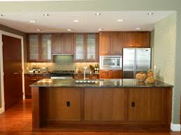 kitchen with an island also white granite countertop also brown