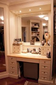Makeup Lighted Mirror Bedroom Elegant Brown Makeup Vanity Table With Lighted Mirror And