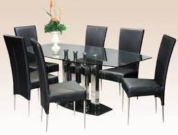 clear glass top steel base modern dining table w optional chairs