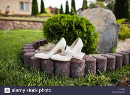 wedding shoes for grass wedding shoes on green grass stock photo royalty free image