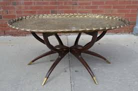 pie crust end table large vintage brass tray coffee table on midcentury folding base for