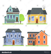 residential home designers cute colorful flat style house village stock vector 604777847