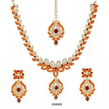 orange stone necklace images Tiptop fashions orange stone necklace set with maang tikka jpg