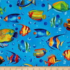 tropical reef large fish marine discount designer fabric