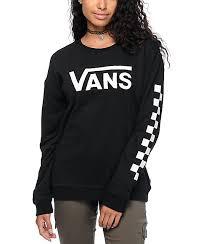 vans sweater vans big checkerboard black white crew neck sweatshirt zumiez
