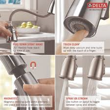 Kitchen Faucet With Sprayer And Soap Dispenser Delta Faucet 16970 Sssd Dst Kate Brilliance Stainless Pullout