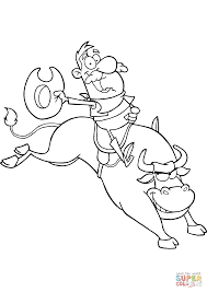 cowboy riding bull in rodeo coloring page free printable