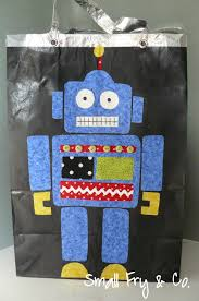 paper bag luminaries halloween small fry u0026 co robot halloween treat bag