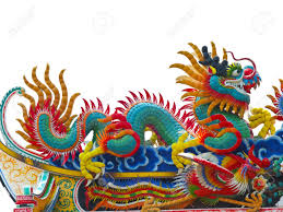 the colorful chinese dragon on the roof stock photo picture and