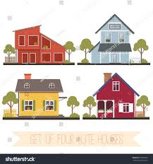 set four cute houses trees vector stock vector 305382620