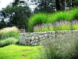 dry stack stone edging landscape traditional with fieldstone