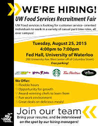 Resume For Tim Hortons Job by Uw Food Services Recruitment Fair Uw Food Services University