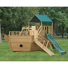 amish made wooden pirate ship playground set