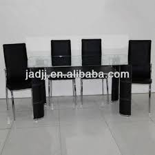 glass table black legs cw196 pvc leather legs mdf shelf tempered glass dining table