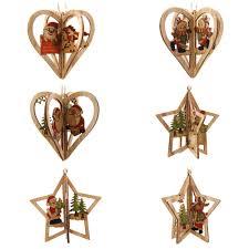3sets creative 3d wooden pendants ornaments