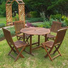 Ebay Patio Furniture Sets - international caravan acacia 5 piece stowaway patio furniture set