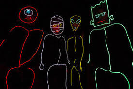 Halloween Stick Person Costume Stick Figure Costume El Wire Kit Tron Burning Halloween Neon Glow