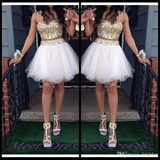 ball gown homecoming dresses with gold beaded straps tulle white