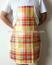 tablier de cuisine plastifié yellow stripe design pe plastique cuisine tablier étanche lavable