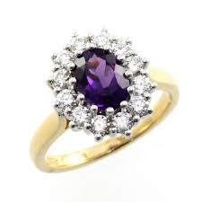 18ct white gold diamond amethyst 18ct yellow gold oval cut amethyst and diamond cluster ring