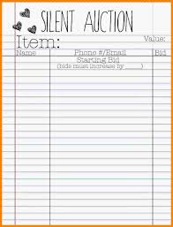 Bid Sheets For Silent Auction Template Silent Auction Bid Sheet Template Haisume