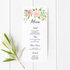 printable floral boho wedding menu template floral wedding menu