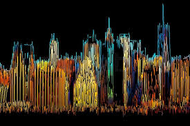 morning new york city skyline painted by color lines on a black background stock photo
