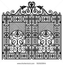 black metal gate forged ornaments on stock vector 502820944