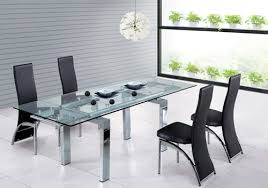 Modren Glass Dining Room Table With Extension Tables Extensions - Glass dining room table with extension