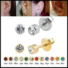 studex earrings fashion pair 316l surgical steel birthstone ear stud piercing gun