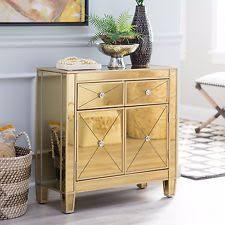 Mirrored Storage Cabinet Gold Mirrored Storage Chest Dresser Cabinet Nightstand Sofa Accent