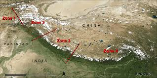 Himilayas Map Measuring Glacier Change In The Himalayas