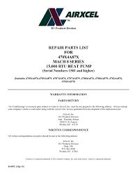 repair parts list for 470x4a87x mach 8 series 15000 btu