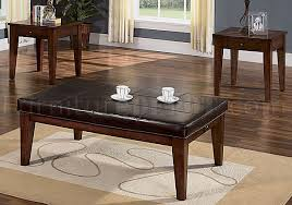 Leather Top Ottoman Leather Top Coffee Table Stitched Padded Leather Top