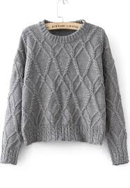 how does it take to knit a sweater shop grey sleeve cable knit sweater sheinside offers
