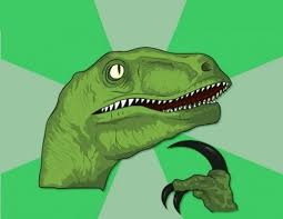 create meme thinking dinosaur thinking