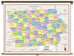 Iowa State Map With Cities by Iowa State Political Classroom Map From Academia Maps