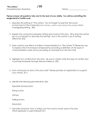 themes in the story the lottery the lottery comprehension questions doc