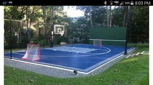 Backyard Tennis Court Cost Multi Sport Court Half Court Bball Hockey Nets Tennis Net That