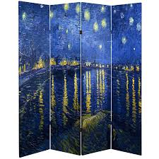 Oriental Room Dividers by 6 Ft Tall Works Of Van Gogh Room Divider Irises Starry Night
