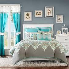 Ocean Bedspread Purple Queen Comforter Sets Beautiful Modern Chic Grey Purple