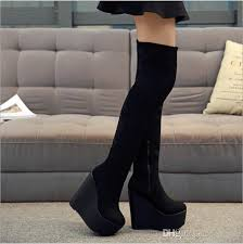 s boots wedge s wedge platform high heel thigh boots side zip
