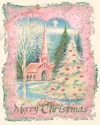 printable shabby chic christmas vintage church pink art print