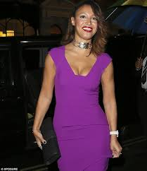 dress with necklace images Amelle berrabah shows off her cleavage in purple dress and jpg