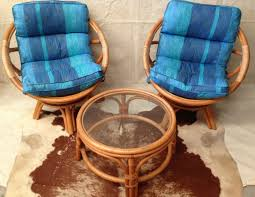 vintage pair bamboo cane egg tub swivel chairs w cushions u0026 glass