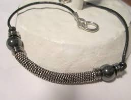 Handmade Mens Bracelets - hematite and silver bracelet on leather unique handmade mens