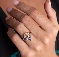 ring set sunset ring set unique wedding ring set sapphire ring set