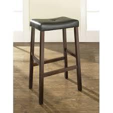 Saddle Seat Bar Stool Set Of 2 Upholstered Faux Leather Saddle Seat Barstool In